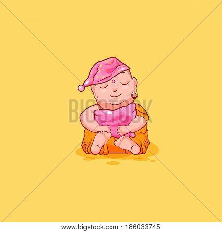 Sticker emoji emoticon emotion vector isolated illustration happy character cartoon sleepy Buddha sit in nightcap with pillow sticker Buddhist monk kashaya yellow background for mobile app infographic.