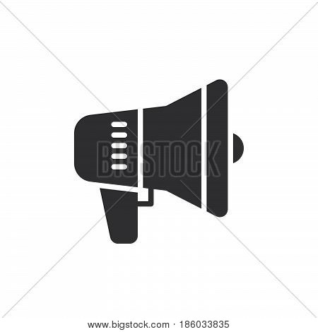 Megaphone Bullhorn Speaker icon vector filled flat sign solid pictogram isolated on white. Advertising symbol logo illustration. Pixel perfect