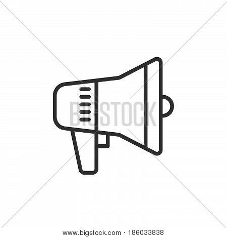 Megaphone Bullhorn Speaker line icon outline vector sign linear style pictogram isolated on white. Advertising symbol logo illustration. Editable stroke. Pixel perfect