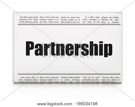 Finance concept: newspaper headline Partnership on White background, 3D rendering