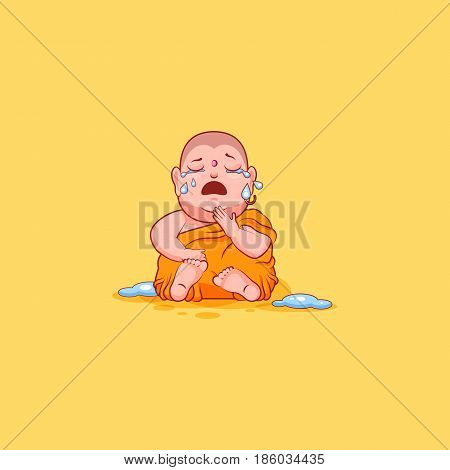 Sticker emoji emoticon emotion vector isolated illustration unhappy character cartoon Buddha sit crying hysterical lot of tears sticker Buddhist monk kashaya yellow background mobile app info graphics.