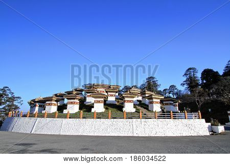 The 108 chortens (stupas) is the memorial in honour of the Bhutanese soldiers at Dochula Pass on the road from Thimphu to Punaka Bhutan