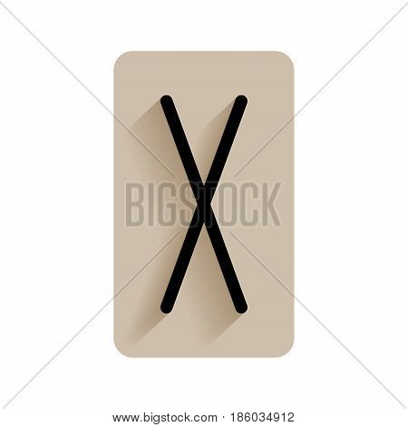 Gebo. Runic alphabet and letters. Flat icon on white background for divination, prediction. Vector
