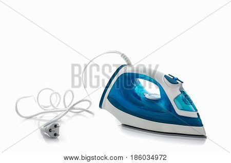 Steam iron on white background. Electrical iron.