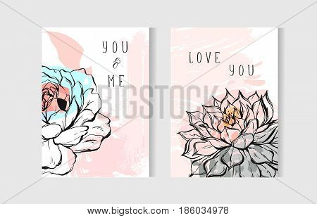 Hand drawn vector abstract creative unusual bohemian wedding save the date cards template collection set with graphic peony flowers and succulent in pastel colors.Boho Wedding, anniversary, birthday.