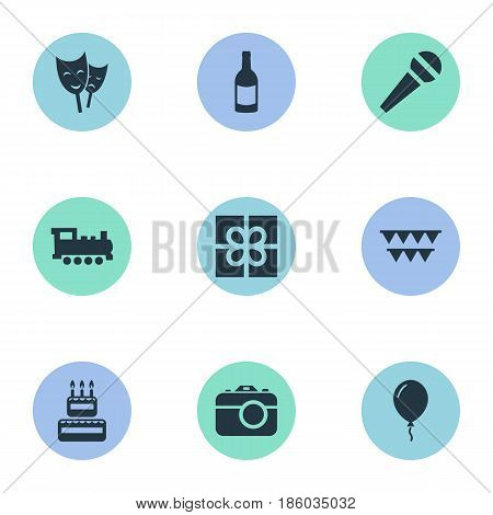 Vector Illustration Set Of Simple Holiday Icons. Elements Mask, Camera, Confectionery And Other Synonyms Beverage, Theater And Mask.