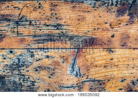 closeup of old brown wooden varnished texture background with many irregularities and scratches