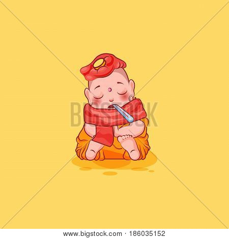 Sticker emoji emoticon emotion vector isolated illustration happy character cartoon Buddha sick with thermometer in mouth sticker Buddhist monk kashaya yellow background for mobile app infographic.