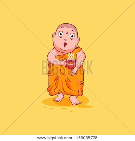 Sticker emoji emoticon emotion vector isolated illustration happy character cartoon Buddha surprised with big eyes, cup of coffee sticker Buddhist monk kashaya yellow background mobile app infographic