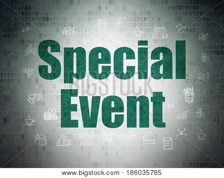 Business concept: Painted green text Special Event on Digital Data Paper background with  Hand Drawn Business Icons