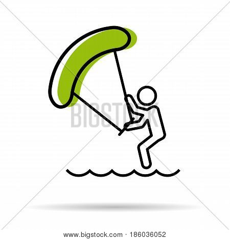 Vector linear icon - man with kitesurfing sea entertaiment isolated on white background