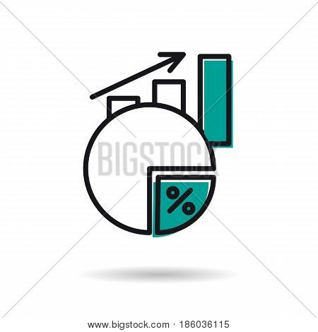 Vector linear icon of revenue or earnings growth. Concept of financial statistic. in thin line art style.Up arrow and increasing columns and segment with percentage isolated on white