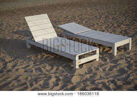 two beach chair on the beach thailand