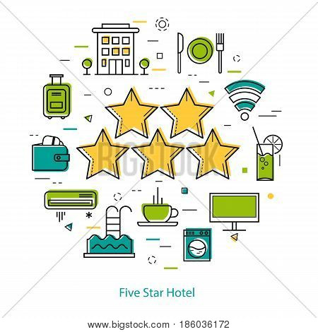 Vector round web banner of five star hotel. Modern thin line icons in three colors. Big 5 stars and pictographs of building, coffee, payment and room accessories