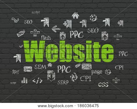Web development concept: Painted green text Website on Black Brick wall background with  Hand Drawn Site Development Icons