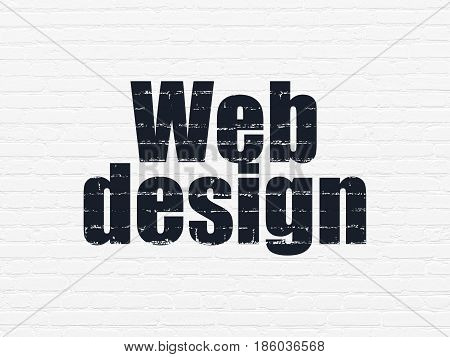 Web development concept: Painted black text Web Design on White Brick wall background