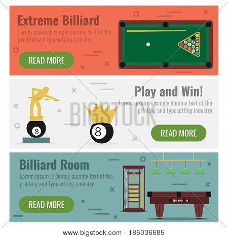 Vector horizontal three banners on colored background for billiard. Table, billiard room equipment, prizes and awards in flat style