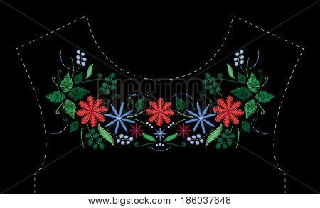 Satin stitch embroidery design with flowers. Folk line floral trendy pattern for dress neckline. Ethnic fashion ornament for neck on black background