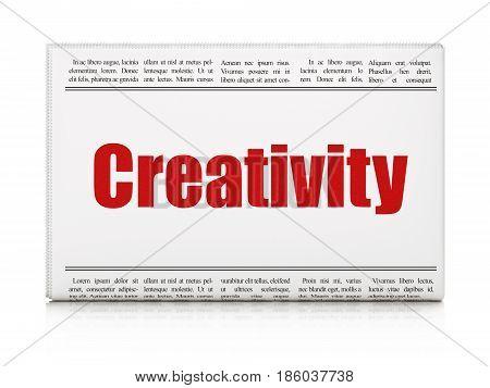 Marketing concept: newspaper headline Creativity on White background, 3D rendering