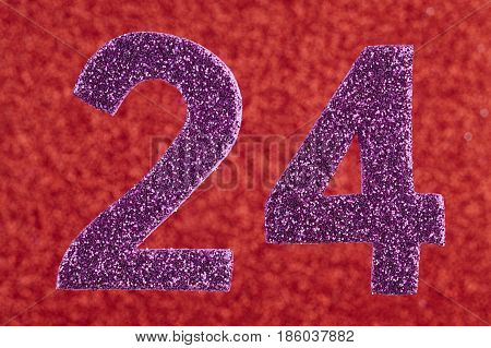 Number twenty-four purple color over a red background. Anniversary. Horizontal