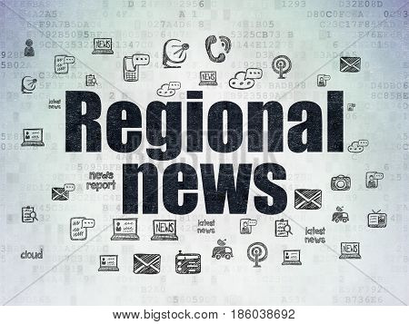 News concept: Painted black text Regional News on Digital Data Paper background with  Hand Drawn News Icons