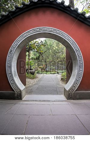 Passage way inside the Wuhoe Shrine in Chengdu sichuan province China