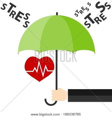 Heart under an umbrella protection from stress. Flat design vector illustration vector.
