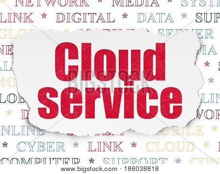 Cloud networking concept: Painted red text Cloud Service on Torn Paper background with  Tag Cloud