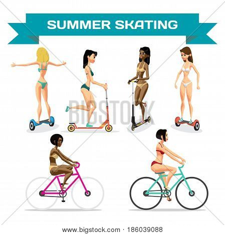 Set of young women in a bikini is riding a gyroscope kick scooter bicycle. Summer skating. Vector flat cartoon isolated illustration