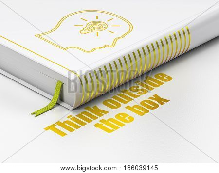 Learning concept: closed book with Gold Head With Lightbulb icon and text Think outside The box on floor, white background, 3D rendering