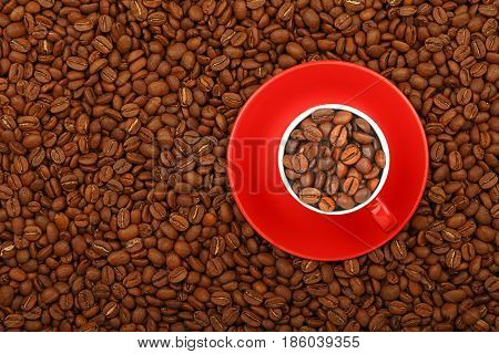 Coffee Beans In Red Cup With Saucer Top View