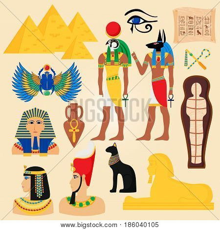 Egypt symbols and landmarks ancient giza pyramids desert anubis people god cleopatra egyptian pharaoh vector illustration. Traditional hieroglyph temple egyptology africa mythology