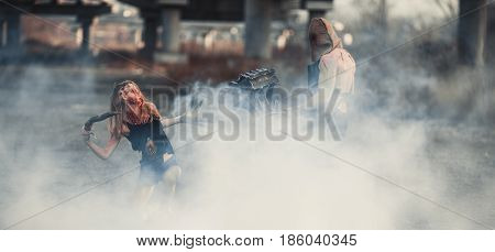 Battle of two mutants. They fight through smoke.