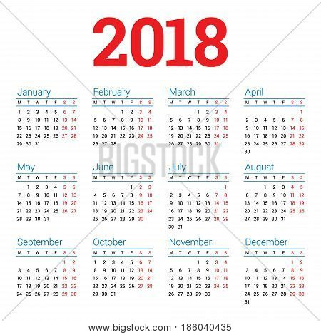 Calendar For 2018 Year On White Background. Week Starts Monday. 4 Columns, 3 Rows. Simple Vector Tem