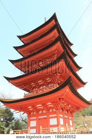 Historical pagoda Toyokuni temple in Miyajima Hiroshima Japan