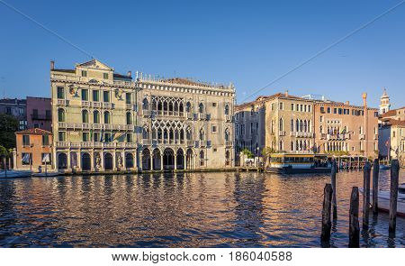 Facade of Ca D'Oro palace on Grand Canal in Venice, Italy. One of the older palaces in the city, it is known as Ca' d'Oro or golden house