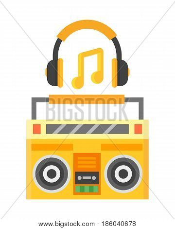 Retro ghetto blaster cassette tape recorder stereo record equipment audio music vintage sound old player vector illustration. Studio technology portable listen speaker