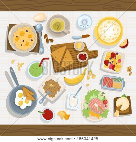 Healthy eating meal concept with fresh salad bowls on kitchen wooden worktop top view vector illustration. Kitchen traditional gourmet nutrition organic ingredient