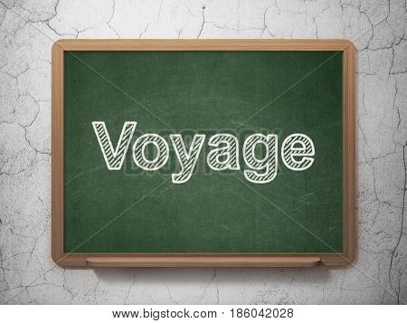 Vacation concept: text Voyage on Green chalkboard on grunge wall background, 3D rendering