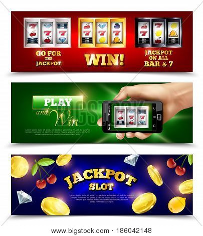 Slot machine set of horizontal banners with jackpot, coins, fruits, mobile app at smartphone isolated vector illustration