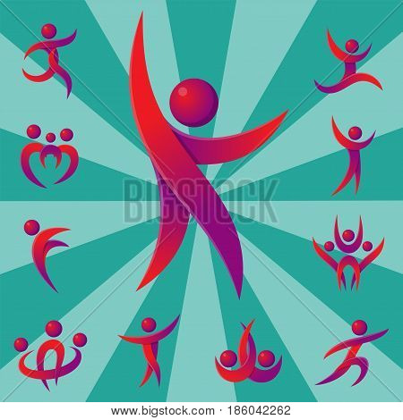 Silhouette of abstract people icon and performance character logo human figure pose vector illustration. Team modern creative partnership friendship connection identity success person.