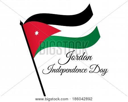 Jordan Independence Day. Jordan Flag Celebration Banner. Vector Illustration