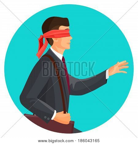 Closeup profile of blindfolded man in suit vector illustration isolated on blue circle. Motivated person going to risk concept