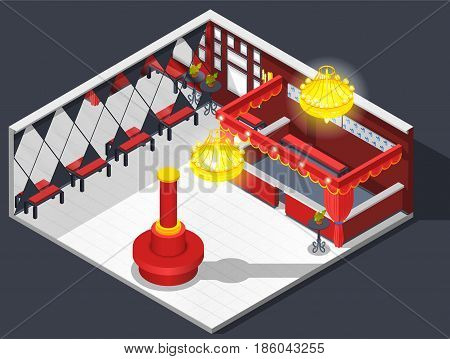 Theatre isometric interior composition of checkroom lobby furniture dressing area with mirrors seats and luminant chandeliers vector illustration