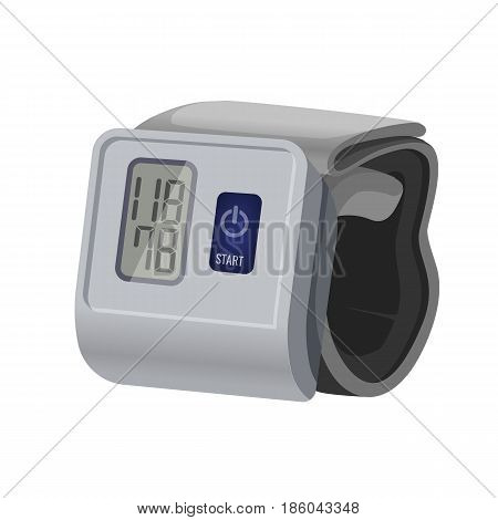 Sphygmomanometer, blood pressure meter with monitor or gauge device used to measure blood pressure. Mechanical manometer vector illustration isolated