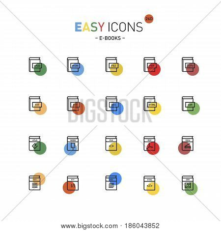 Vector thin line flat design icons set for file formats of digital electronic books