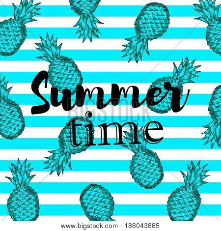Summer time background with hand draw blue pineapples on the blue and white strips. Vector illustration