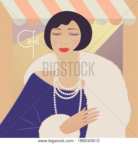 Portrait deco woman in manto and pearl necklace. France lettering cafe. Vintage style vector illustration.