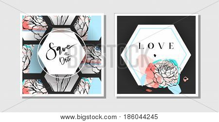 Hand drawn vector abstract creative collage freehand textured save the date greeting cards collection set template with flowers isolated on black background.Wedding, save the date, birthday, rsvp