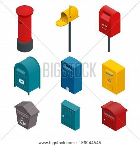 Isometric set of a post box or written postbox, collection box, mailbox, letter box or drop box. Flat vector colourful collection isoleted on white